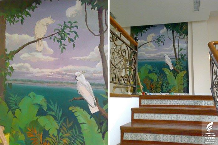 高手教你如何画写实热带雨林风景的手绘墙图片图片