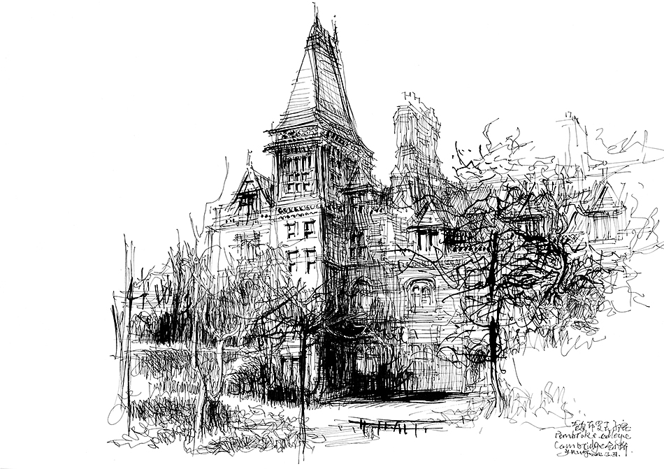余工画名校系列之剑桥_建筑钢笔画吧_百度贴吧图片