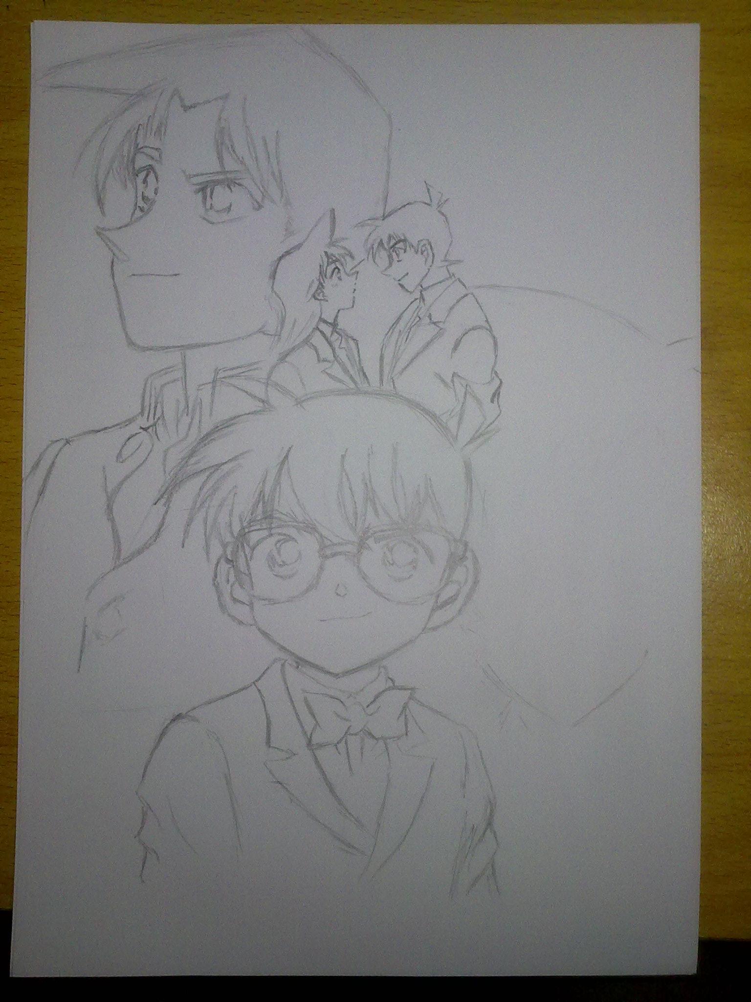 柯南素描铅笔画图片