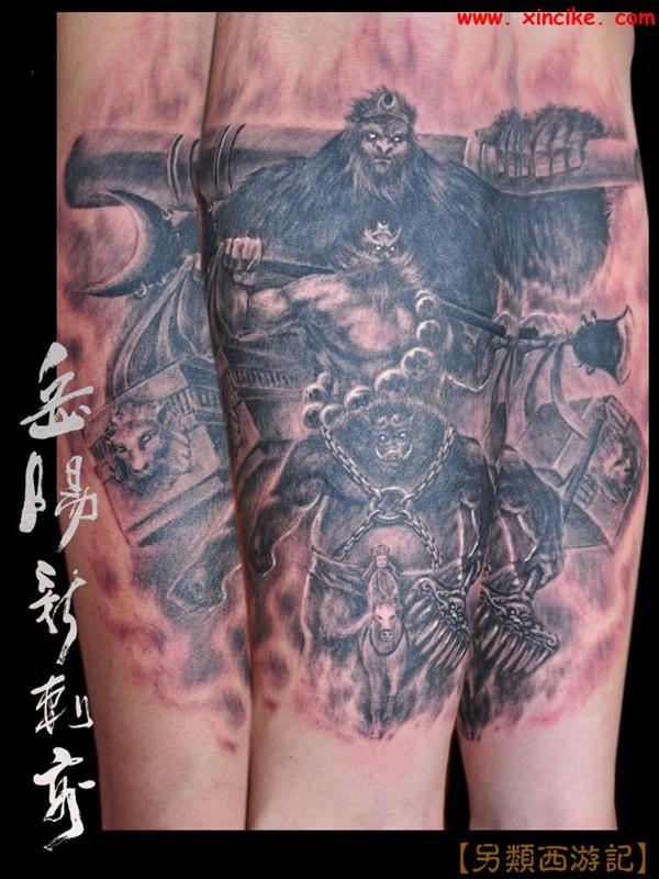 西游记题材花臂纹身图案图片