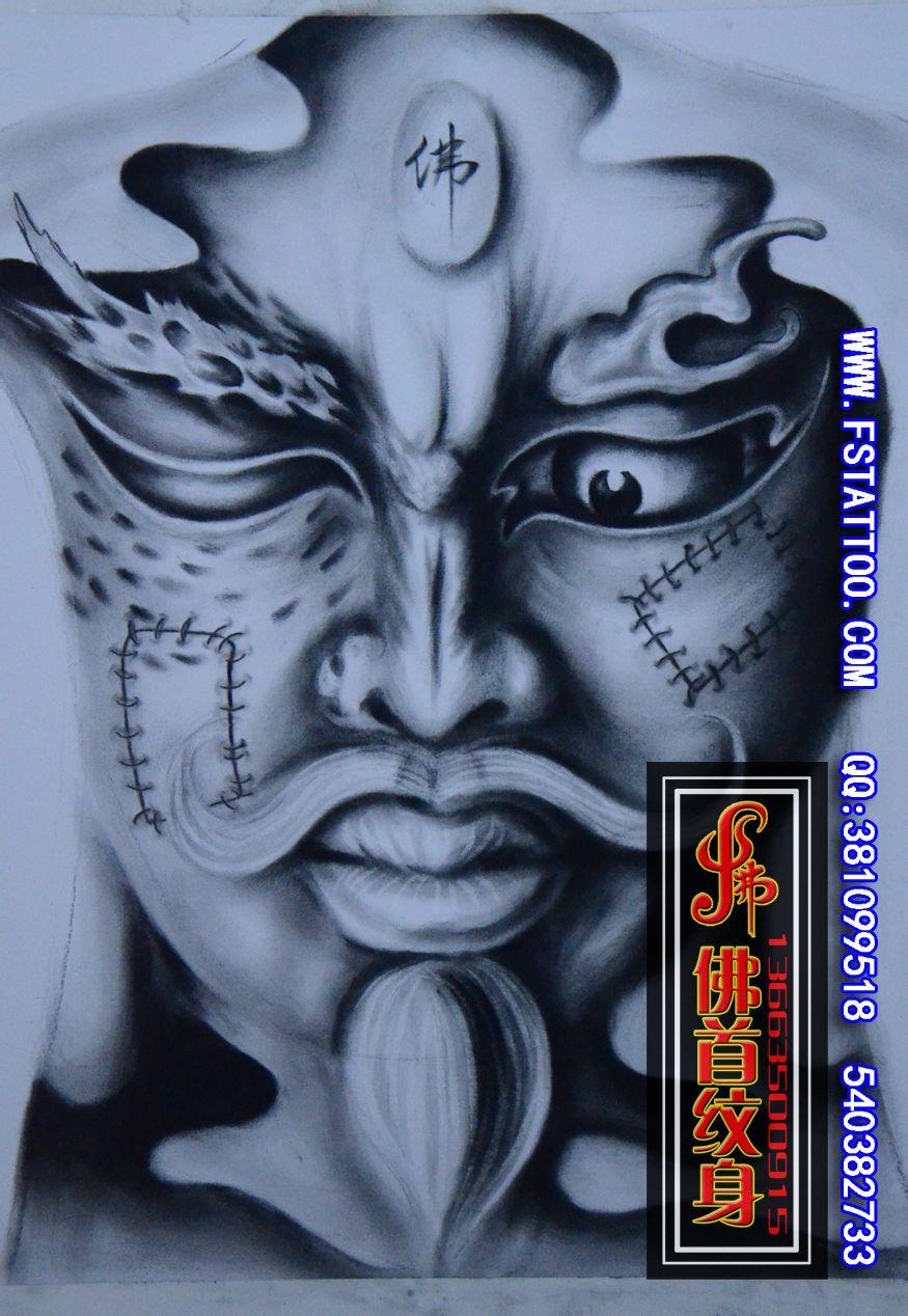 韦陀护法纹身图案小腿分享展示图片