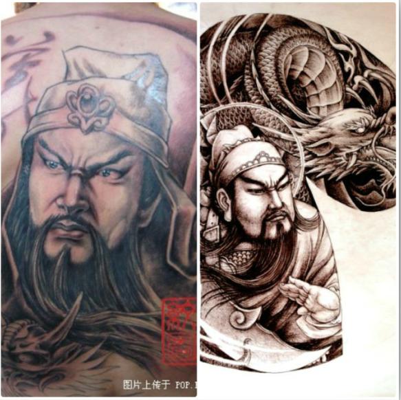 纹身师画的各种手稿,虽然选用了大量神话人物和宗教图片