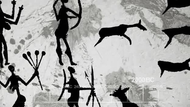 壁画:古人类集体狩猎的场景,氏族社会诞生了,氏族社会体现了人类的