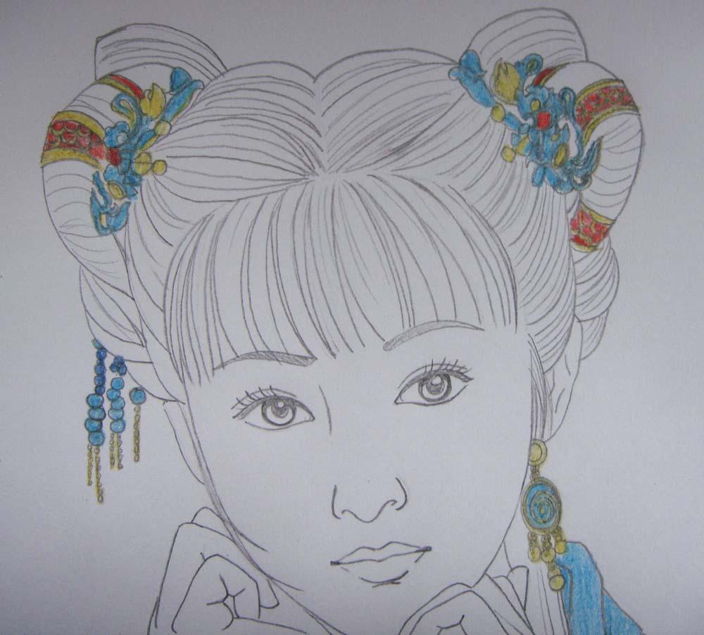 古装贴图 *【教程】彩铅美女是这样画成的