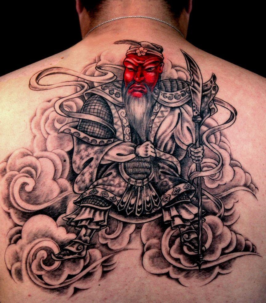 后背纹身关公囹�b_后背霸气的关公纹身图案欣赏