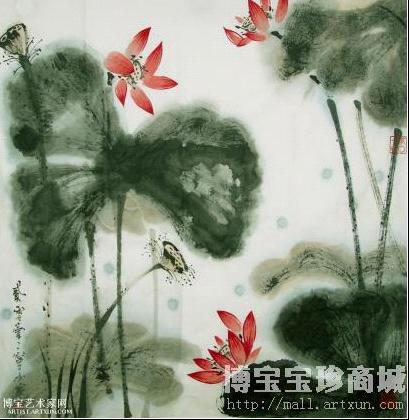 秋荷图 写意花卉类国画 宁小勇作品图片