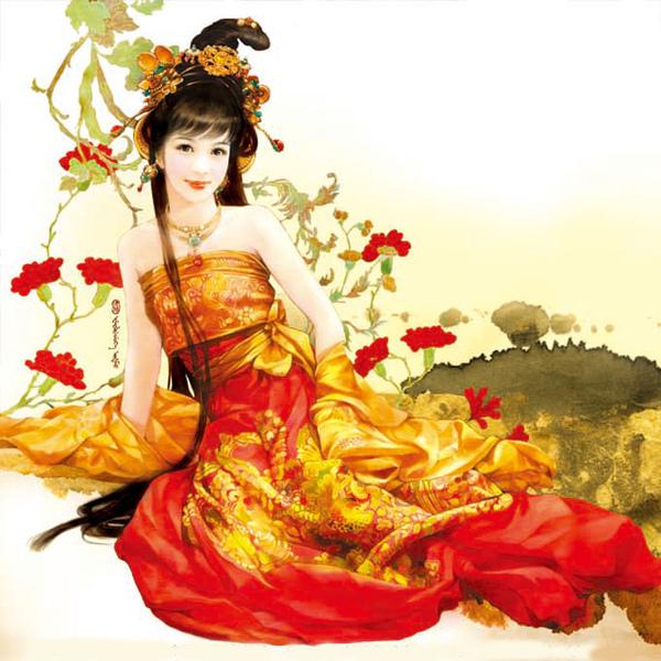 【求图】红衣黑发美女