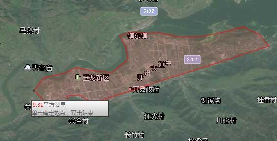 用地图测量了一临江城镇面积