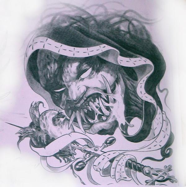 藏文纹身,黑白无常纹身图片