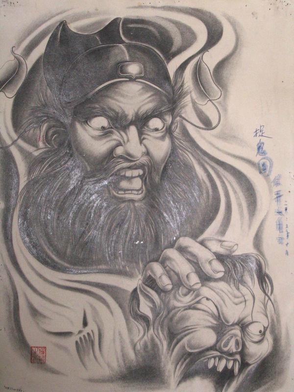 浙江纹身手稿推荐之半胛钟馗纹身图片