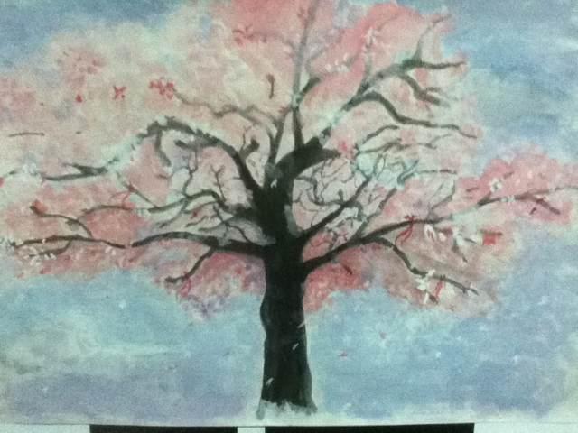 妹子画的樱花. 实物比照片还美图片