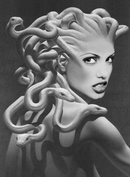 蛇妖美女 美杜莎的纹身作品和一些素材 竖