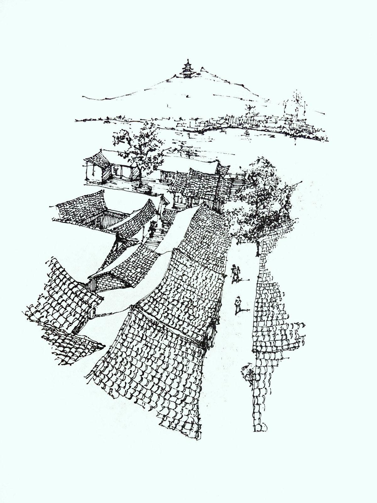再附两张我画的阆中古城速写图片