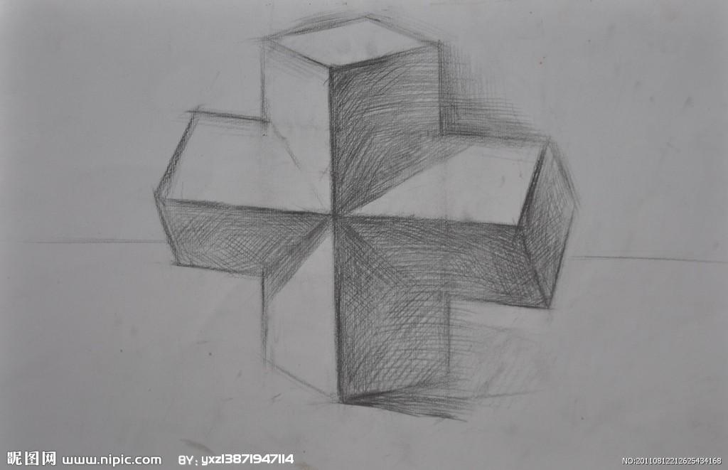 如何画好静物素描,其实在画素描时每一个物体都是由无数简单几何图形图片
