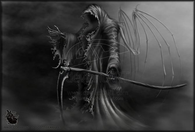 男人腰部时尚潮流的死神镰刀纹身_纹身图案图片