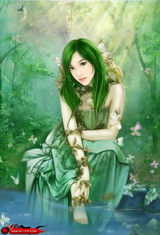 求图】绿发俊男美女 竖