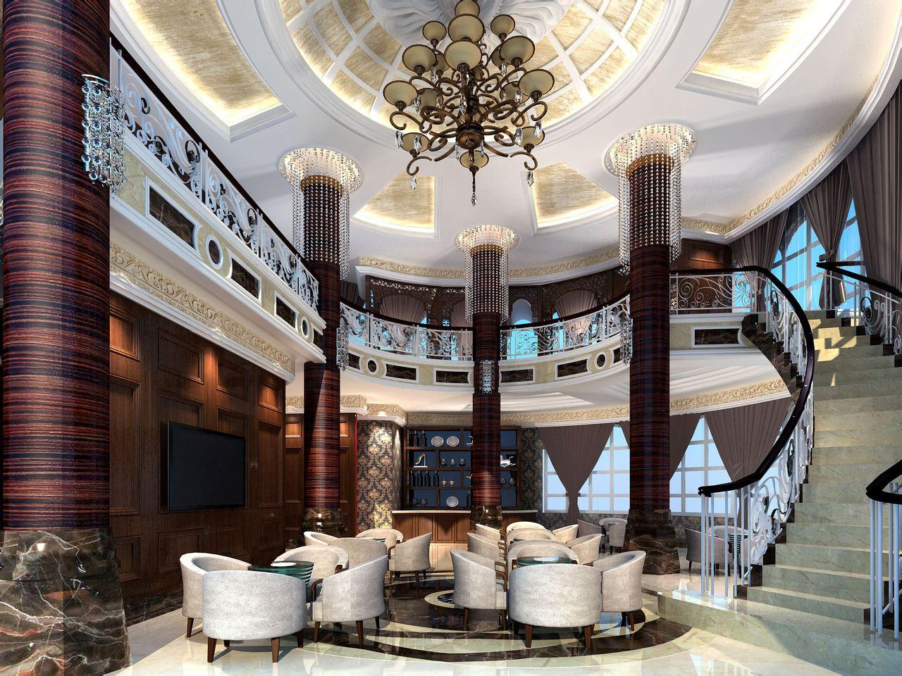装修及运行成本,而且会显得异常冷清,不利于酒店的经营.大堂高清图片
