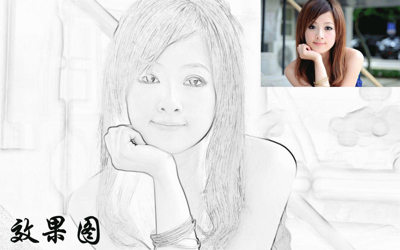 将美女图片制作成铅笔画