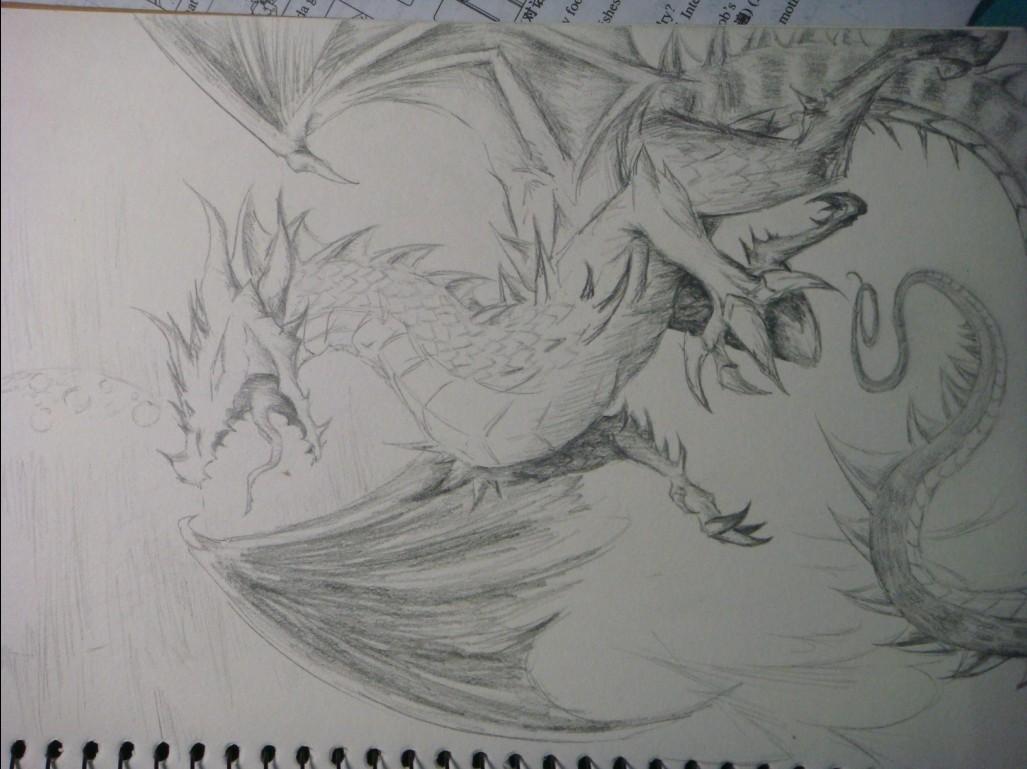 霸气的西方龙素描_素描西方龙的画法,西方龙的素描 ...