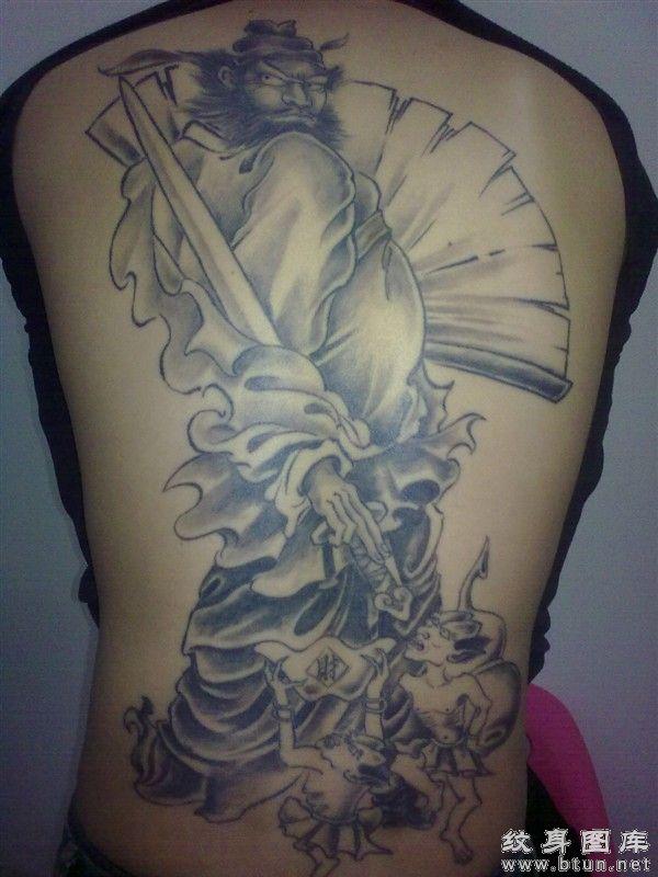 哪吒降龙纹身图案哪吒降龙满背纹身 最凶的降龙关公纹身图片图片