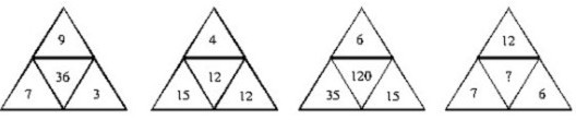 """找规律,第四个三角形中间的""""?""""是什么数字图片"""