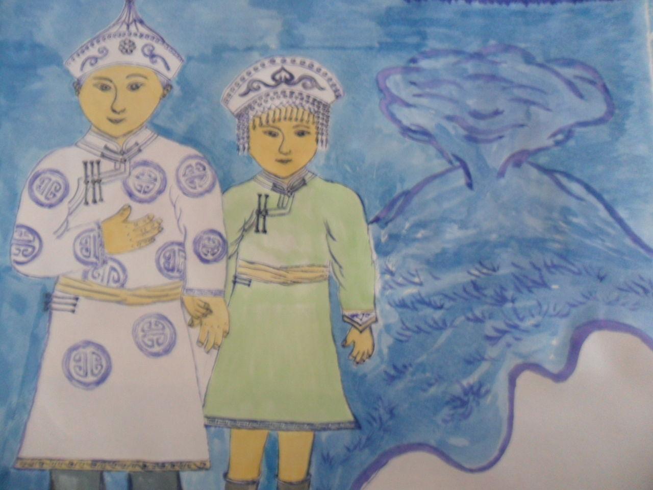 蒙古族春节绘画分享展示图片