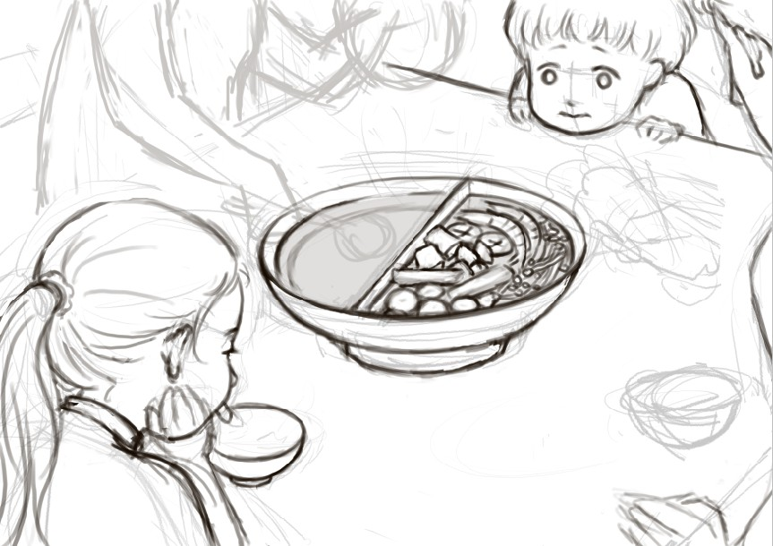 美女吃火锅图片