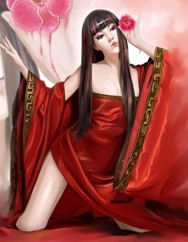 1098955687_古装红衣妖孽美女图片_古代妖孽美女图片手绘_古代 ...
