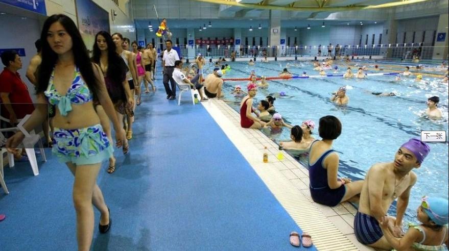 的游泳池美女多把
