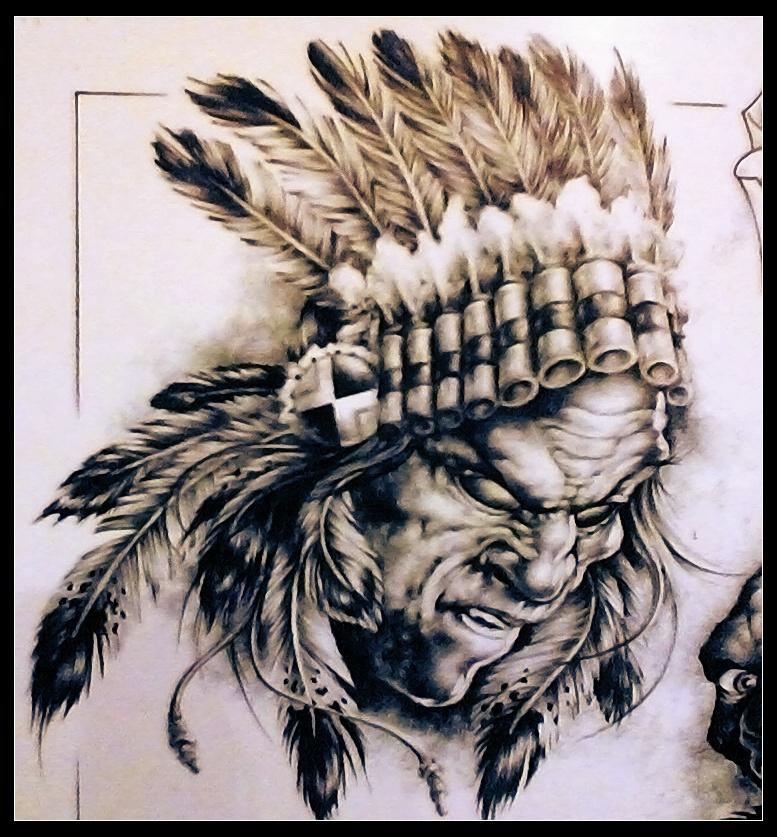 印第安猫咪纹身手稿分享展示图片