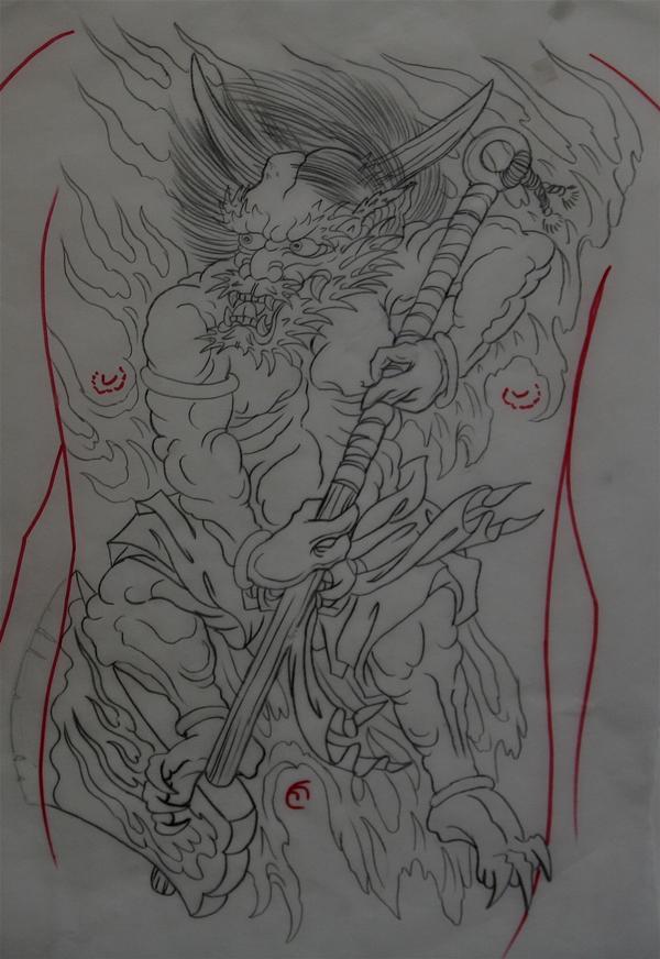 罗刹鬼纹身图片线条分享展示