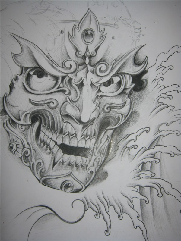 嘎巴拉纹身手稿 图案分享展示图片