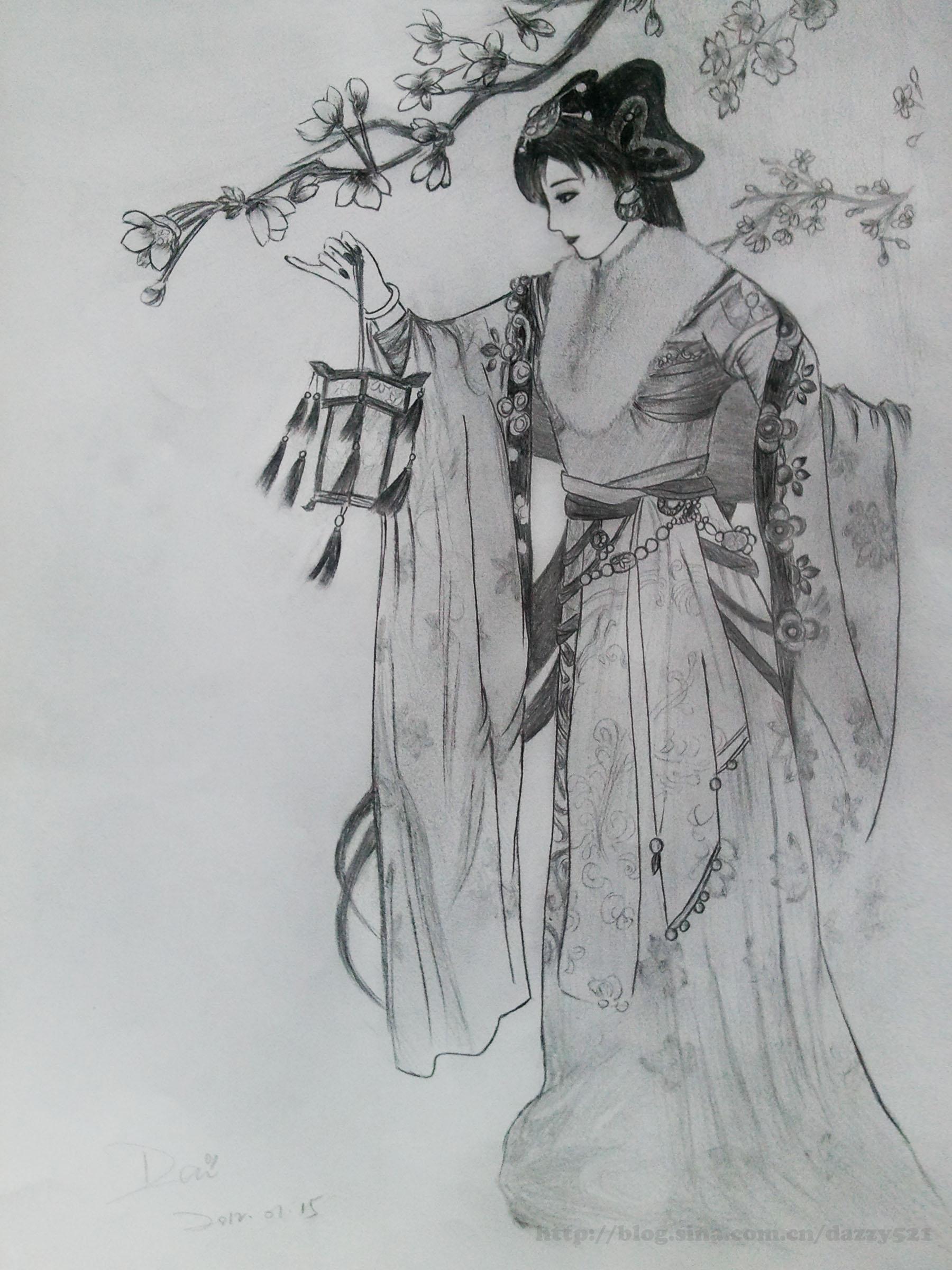 浪迹天涯--黑白古装手绘图片