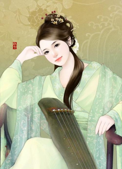 求古代女子弹古琴的图