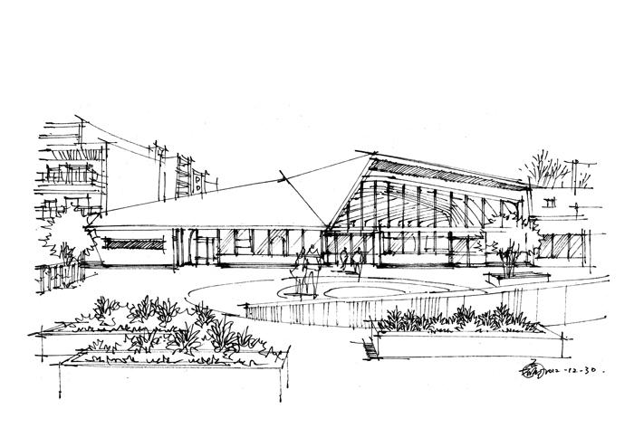 一些建筑速写_钢笔画吧图片