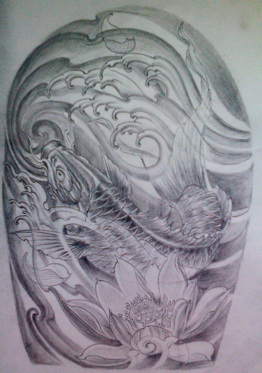 满背鱼纹身手稿图案分享展示图片