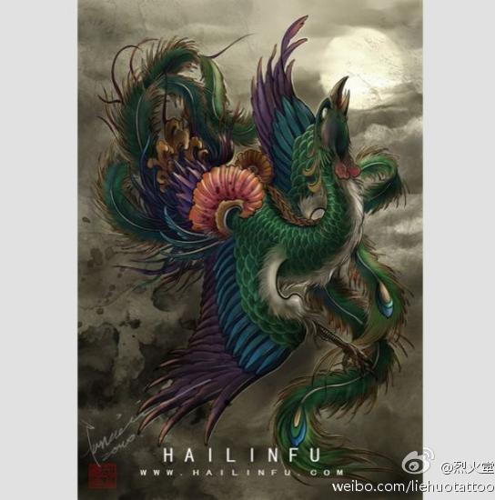 凤凰小纹身手稿分享展示图片