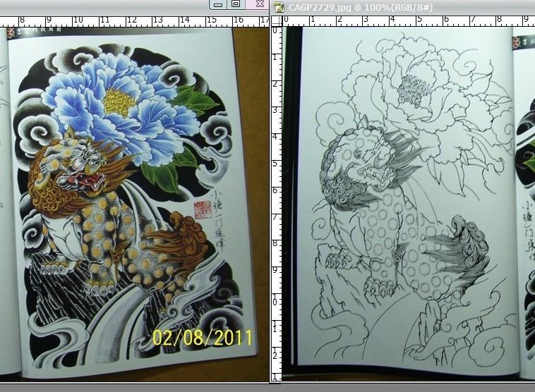 经典石狮子牡丹花臂纹身图案图片