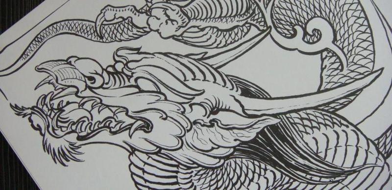 手稿线条美人鱼纹身图案图片