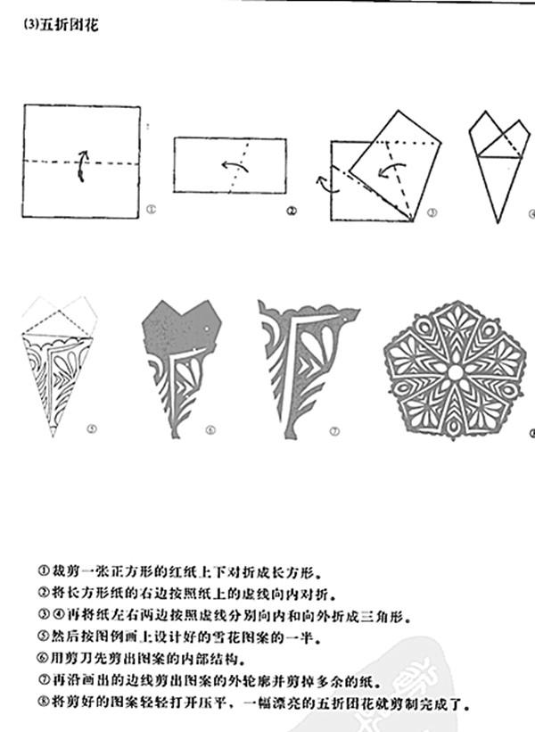 团花剪纸图案步骤-四折团花剪纸图案图片大全 四折花团花剪纸图案 四