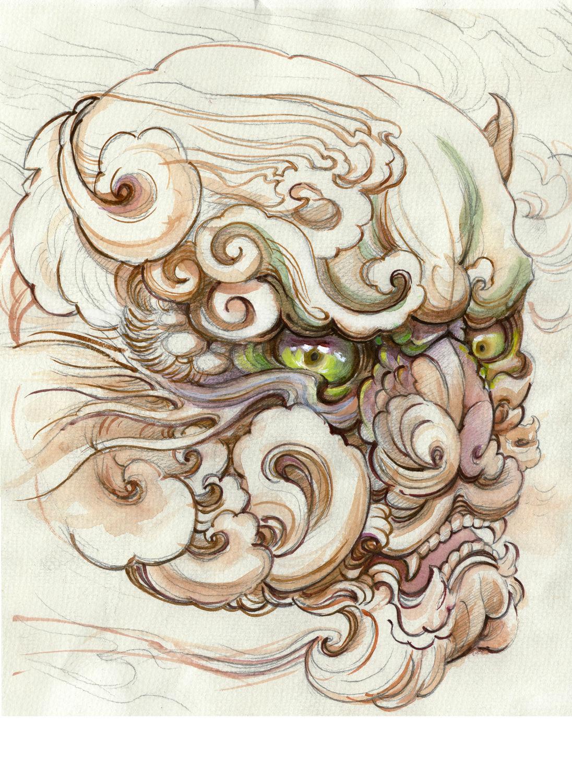 半胛观音唐狮纹身手稿为北京纹身图片