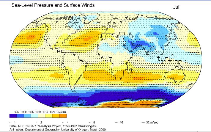 世界7月海平面气压及风图片