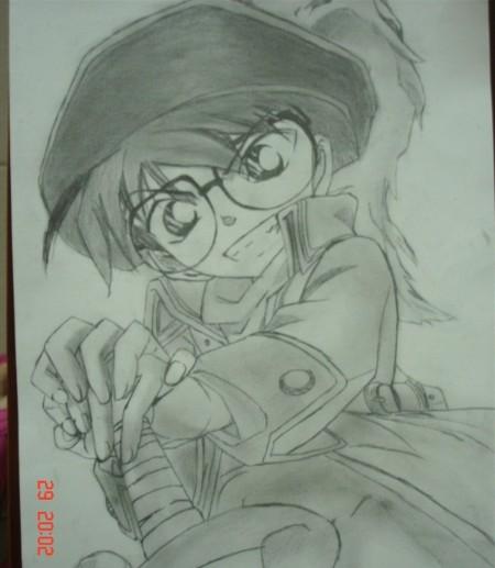 画的铅笔画~喜欢柯南   柯南的萌 _来自不憧憬公主裙的图