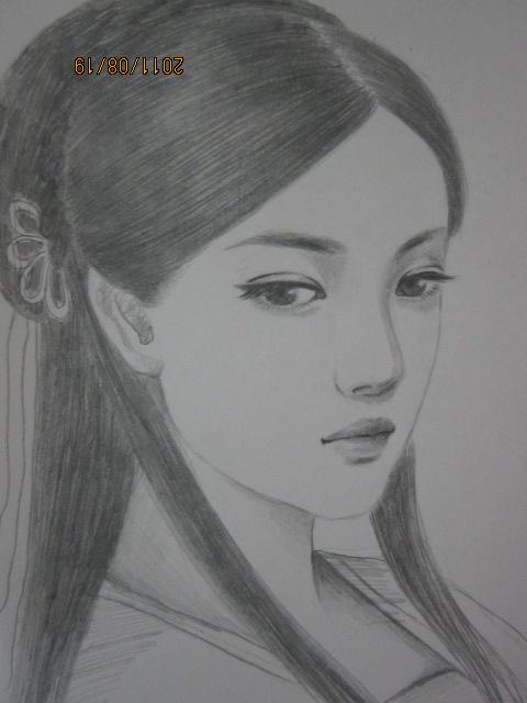 手绘古装美女铅笔画图片