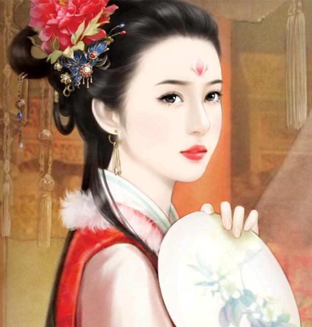 手绘古装女子图片