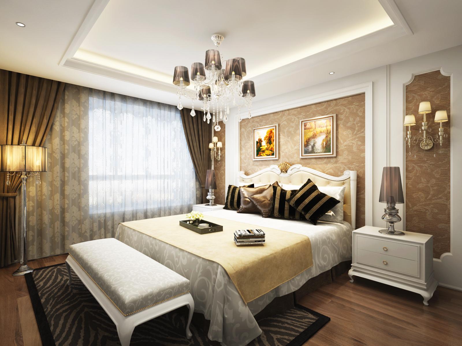 长沙实创装饰 139平装修效果图 卧室 高清图片