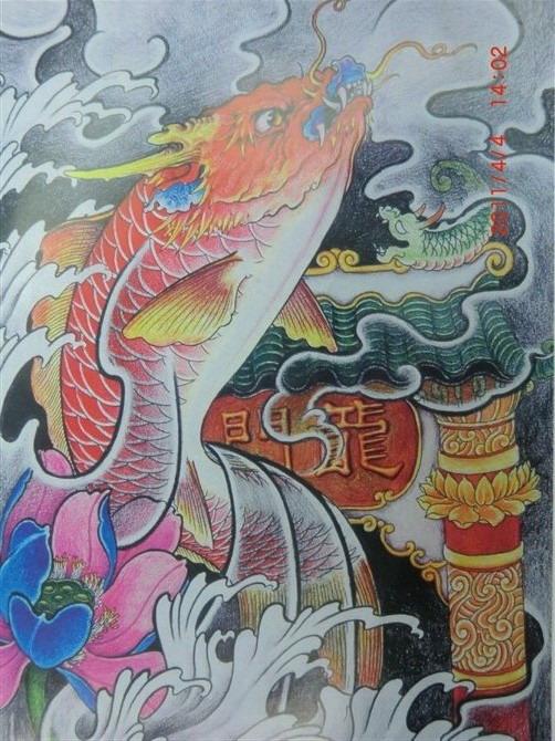 我想纹一个鲤鱼跃龙门图片