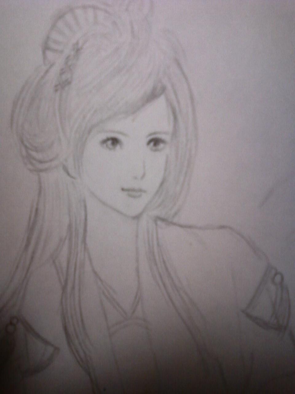 纸上化妆素描美人图图片