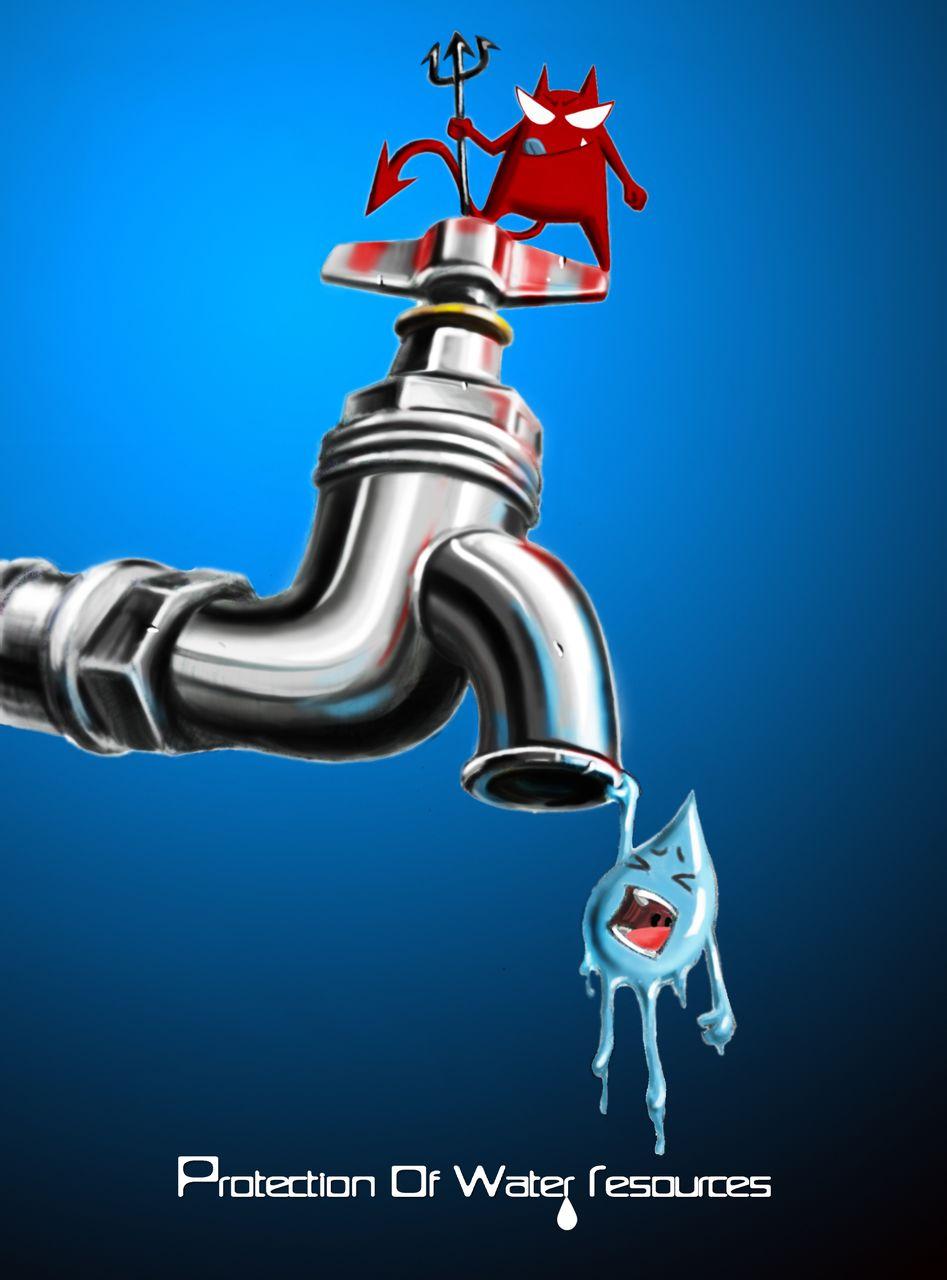 保护水资源的招贴画手绘分享展示图片