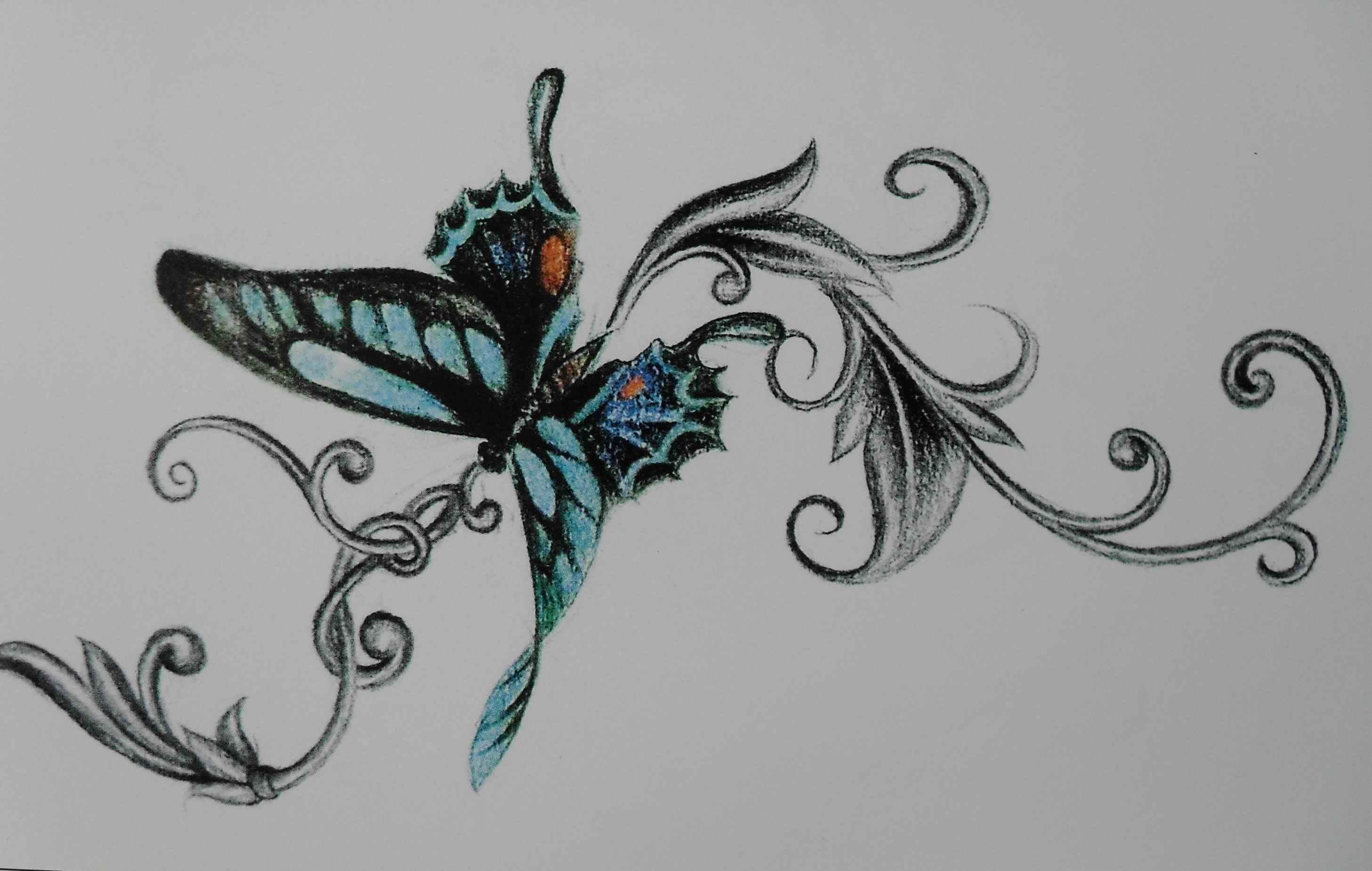 手稿花藤和蝴蝶纹身图案图片